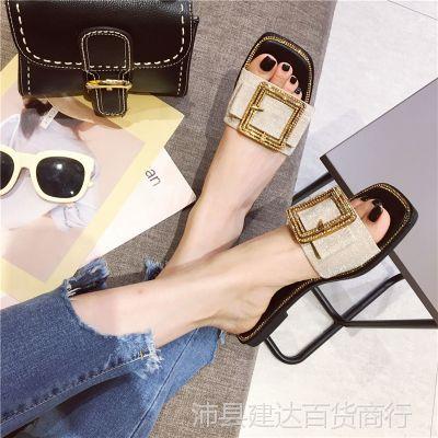 凉拖女夏外穿时尚3新款2拖鞋复古休闲单鞋女鞋子平底鞋蝴蝶结水钻