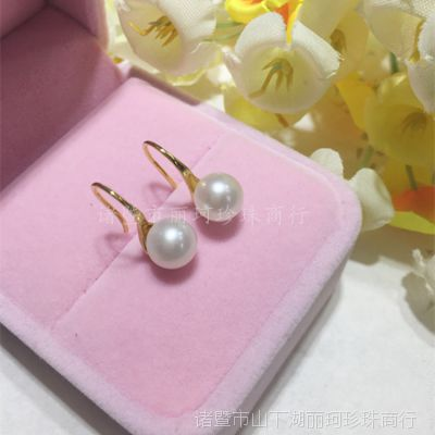 s925银款 韩版高跟鞋款 镶嵌8-9MM淡水圆珠 百搭秀气 价格 优惠