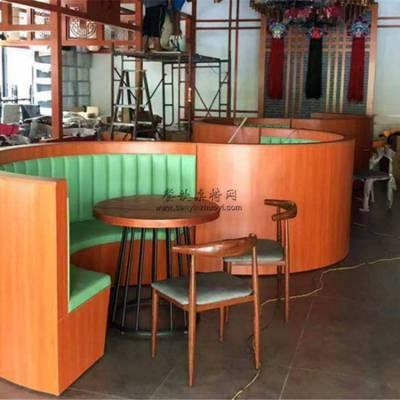 湘菜馆半圆形卡座沙发桌椅组合案例