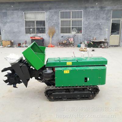 履带式果园撒粪车施肥机价格 多功能28马力电启动开沟施肥机 履带自走式旋耕机批发富兴