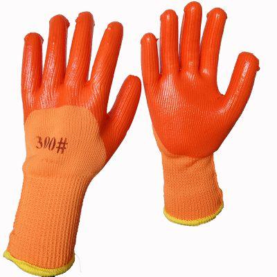 9针毛圈橘红PVC挂胶劳保防护手套