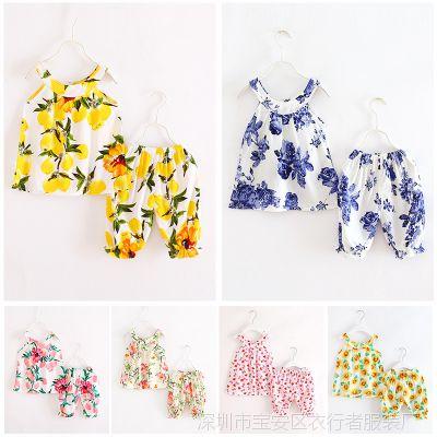 女童套装2018新款韩版女孩儿童女宝宝时尚洋气夏装绵绸两件套潮衣