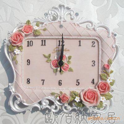 太阳机芯超静音玫瑰欧式田园座钟 生日创意礼品 树脂钟表批发采购