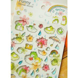 .韩国FUNNY 手机贴纸 日记水晶贴纸 下雨天