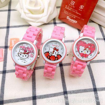 韩版可爱KT猫时尚女腕表hello kitty卡通儿童手表果冻色女孩手表