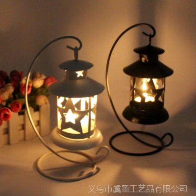 复古欧式单挂烛台 金属镂空蜡烛台 单挂五角星铁艺蜡烛架厂家直销