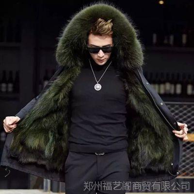 皮毛一体男尼克服皮草内胆真皮皮衣外套派克服大衣男中长款冬季潮