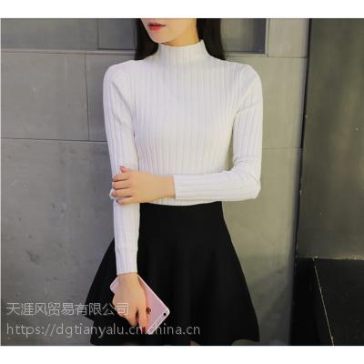 重庆永川冬季打底女式毛衣批发针织修身弹力女士短款毛衣批发纯色内搭女式毛衣批发