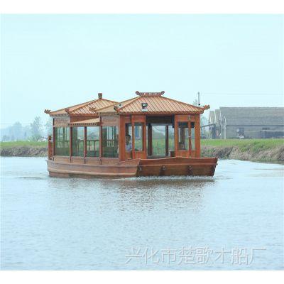 广西柳州10米电动木船厂家出售观光船/大型水上画舫船