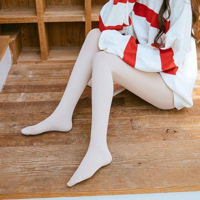 2018年秋冬日系竖条纹锦纶高密连脚外穿显瘦打底裤女