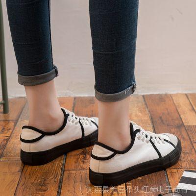 2018春季韩版街拍帆布鞋女新款百搭小白鞋浅口布鞋休闲学生白鞋子