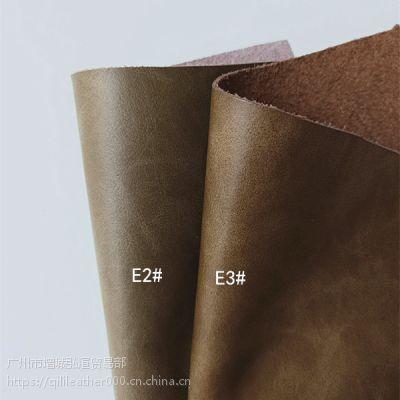 现货批发真皮皮料箱包皮带浅灰色复古整张二层牛皮料