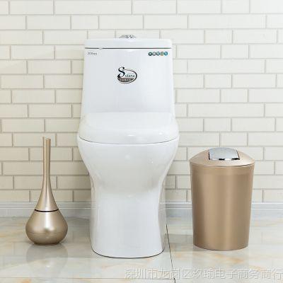 垃圾桶带盖卫生间家用洗手间厕所手按式按压圆形有盖塑料大号小号