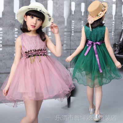 童装夏款女童无袖连衣裙中大小童韩版修身公主裙女孩夏装裙子燕尾