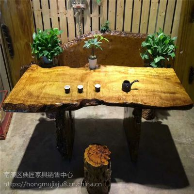黄金樟大板桌小型茶板桌 会议茶话桌 家用茶板桌餐桌 多功能桌几