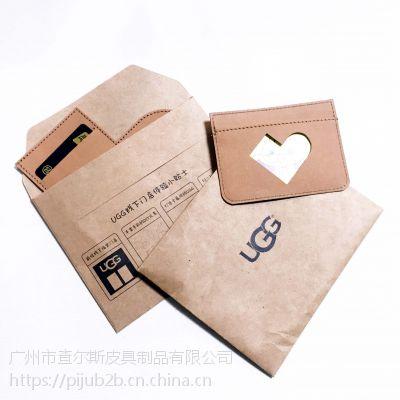 广州厂家定制UGG品牌原创进口水洗牛皮纸爱心靴型卡包美国冲皮布环保DIY卡套名片小包
