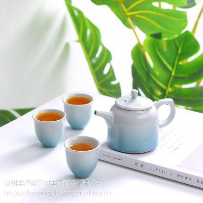哥窑冰裂纹一壶三杯功夫茶具套装便携旅行旅游茶具简约复古茶壶茶