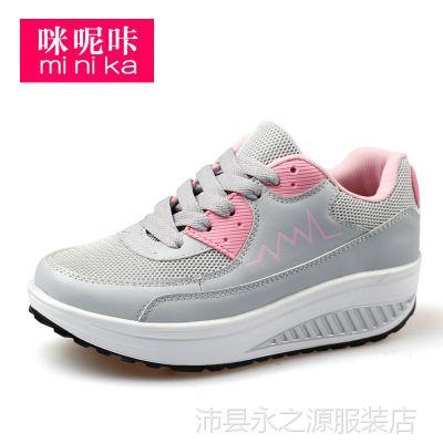 时尚休闲新款 网布系带摇摇鞋松糕妈妈鞋坡跟旅游鞋1609-1-2-3