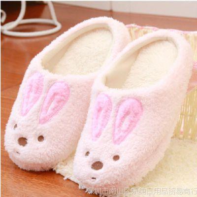 可爱卡通砂糖兔保暖秋冬毛绒棉拖鞋半包加厚底家居地板拖