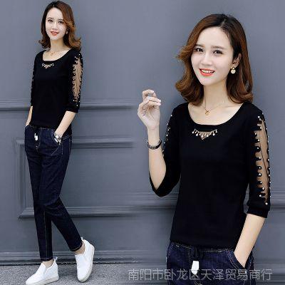 T恤女2018春装新款韩版修身洋气小衫女士百搭上衣时尚大码打底衫