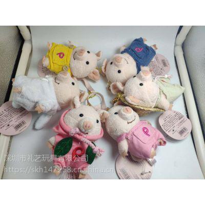 厂家直销日系可爱小猪草帽背带裤猪短毛绒公仔玩具PP棉包包挂件定制