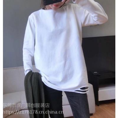 广州夏季纯棉T恤便宜服装处理3-8元时装长款短袖T恤潮流时尚卡通大版T恤批发