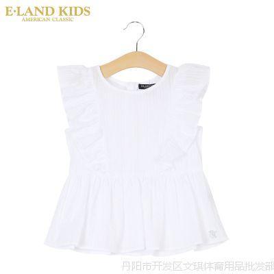 Elandkids衣恋褶皱夏季女童无袖衬衫童装荷花边