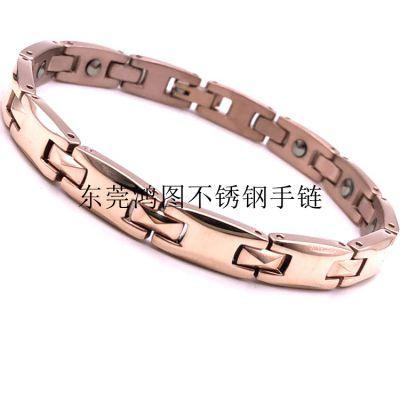 不锈钢手链厂商加工时尚OL男女通用玫瑰金色不锈钢手链