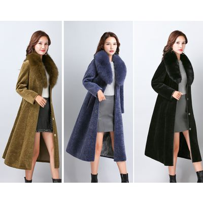 品牌折扣女装 海宁皮草大衣 羊剪绒大衣女 折扣女装批发 尾货走份