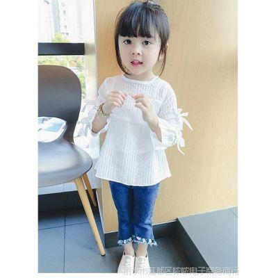 女童打底衫春秋长袖宝宝衬衫韩版喇叭袖儿童上衣白T恤夏装娃娃衫