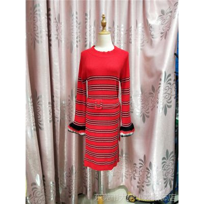 2018秋冬款红色条纹连衣裙修身版系腰带羊毛混纺针织裙子大牌同款