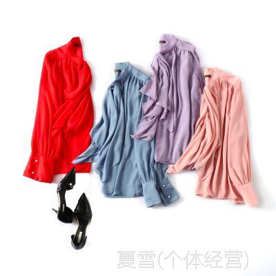 18秋季新品 知性优雅 领口蝴蝶结飘带 V领宽松显瘦长袖衬衫上衣女