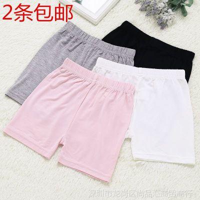儿童安全裤平角黑色粉色防走光大童白色小女孩中大童舒适内裤夏天