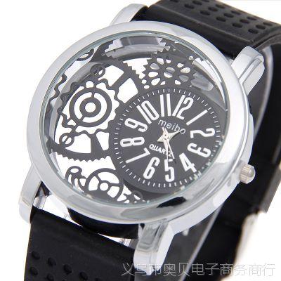 速卖通外贸新款硅胶镂空手表 潮流女款彩色运动腕表 女士硅胶手表