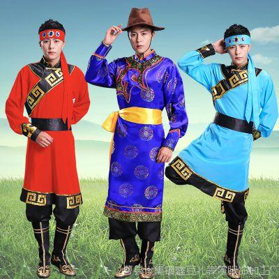 新款蒙古服装男蒙族成人现代男士演出服舞蹈少数民族表演衣服袍