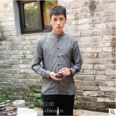 原创中国风亚麻男装长袖衬衫棉麻改良立领休闲衬衣宽松春秋款