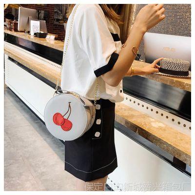 2018夏季新款时尚女包韩版淑女范樱桃小圆包链条单肩包斜跨小包包
