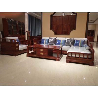 刺猬紫檀新中式红木客厅沙发贵妃沙发5件套