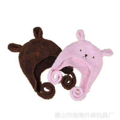厂家直销订制新款儿童绒帽点点耳朵小兔护耳帽户外宝宝帽秋冬帽子