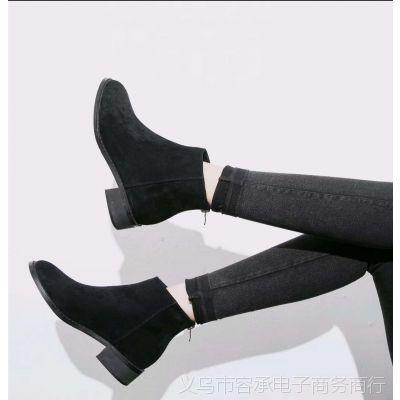 秋冬女靴女士短靴黑色粗跟欧美休闲时尚圆头女靴女士皮革靴绒面靴