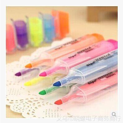 韩版创意文具彩色香味糖果色荧光标记笔 水彩笔记号笔一件代发