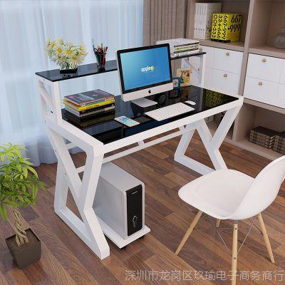 铭淘电脑桌钢化玻璃办公桌台式家用书桌简约现代学习桌简易桌子写