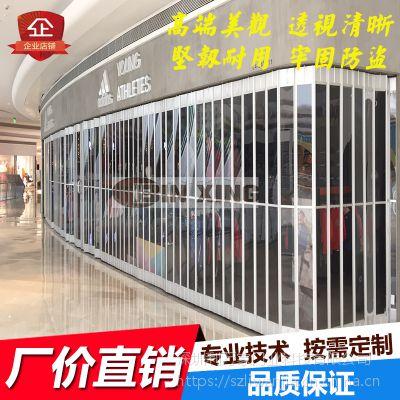 定制商场透明水晶门铝合金水晶折叠门弧形异形隔断防盗水晶门