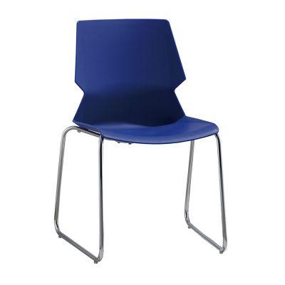 简约可堆叠会议椅蓝色弓形培训椅现代办公椅茶水间用椅会议洽谈椅