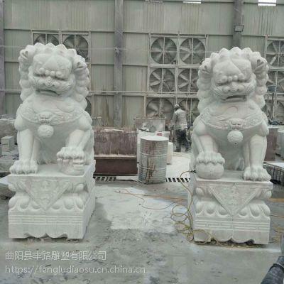 供应1.8米石雕汉白玉石狮子 大理石青石传统狮子厂家