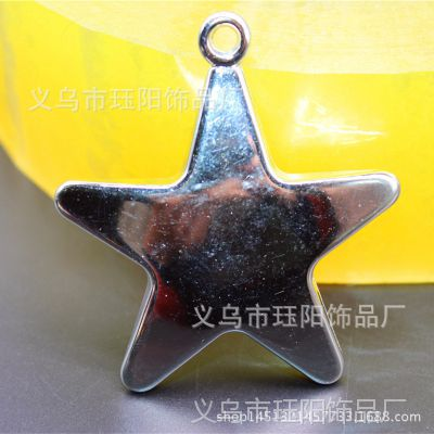 厂家直销光面带吊塑料电镀五角星 银色立体装饰散珠 diy串珠材料