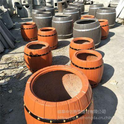 宿州厂家低价供应水泥仿木花桶 混凝土盆景