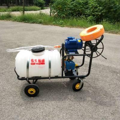 汽油高射程四轮手推打药机 农用小麦田果园打药机