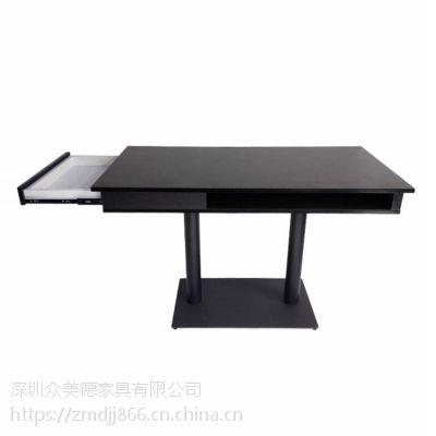 香港餐厅带抽屉防火餐桌高档实木桌子,带储物功能餐桌订制工厂直销