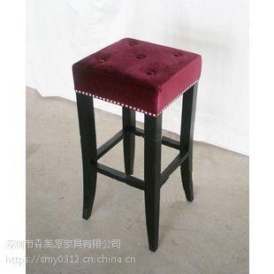 实木北欧酒吧椅家用吧台椅靠背高脚凳餐台椅吧台凳